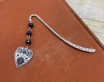 Dark purple planchette bookmark, occult bookmark, goth bookmark, gothic bookmark, esoteric bookmark, pagan bookmark, witch bookmark