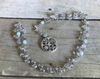 Clear wiccan wheel rosary, pagan prayer beads, wheel of the year, pagan rosary, wiccan jewelry, wiccan rosary