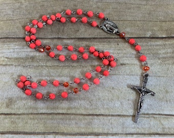 Neon orange lava rock catholic rosary, essential oil rosary, diffuser rosary, bright rosary, statement rosary, baptism gift
