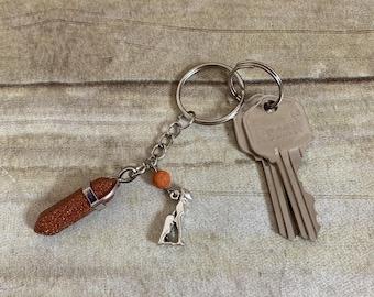 Goldstone bastet keychain, bast keychain, baset keychain, crystal keychain, essential oil keychain, pagan keychain, witch keychain, cat gift