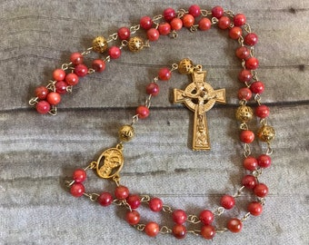 Bright pink orange shell rosary, catholic rosary, easter rosary, baptism gift, first communion, confirmation gift, sea shell rosary