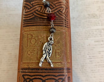 Red and black zombie bookmark, undead bookmark, monster bookmark, horror bookmark, creepy bookmark, halloween bookmark