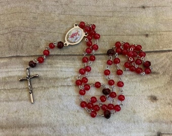 Red and black archangel Raphael rosary, catholic rosary, one of a kind rosary, baptism goft, first communion gift, confirmation gift