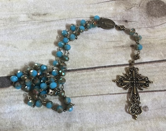 Blue, brass and tan sparkle rosary, catholic rosary, baptism gift, first communion, prayer beads, religious jewelry
