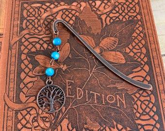 Blue shell tree of life bookmark, Yggdrasil bookmark, plant bookmark, pagan bookmark, wiccan bookmark, witch bookmark, pagan bookmark