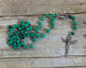 Jewel tone green lava rock rosary, essential oil rosary, oil diffuser rosary, statement rosary, stone rosary, baptism gift, confirmation