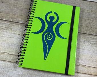 Bright green and blue glitter goddess journal, goddess notebook, goddess book of shadows, pagan journal, wiccan journal, triple goddess,