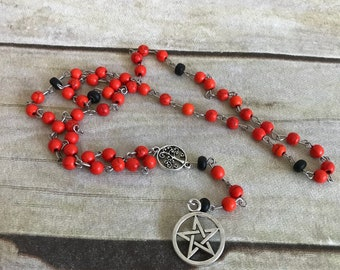 Orange and black howlite pagan rosary, pentacle necklace, wiccan jewelry, occult gift, tree of life, handmade, one of a kind