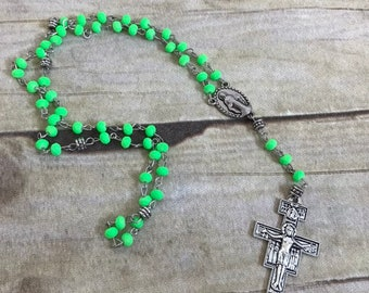 Neon lime green rubberized rosary, fluorescent catholic rosary, modern rosary, religious jewelry, baptism gift, first communion gift