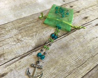 Bright blue and green anchor necklace