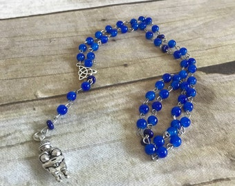 Blue and silver venus of willendorf rosary, pagan prayer beads, fertlity goddess, wiccan jewelry, goddess necklace
