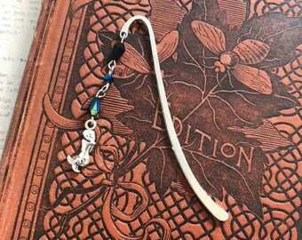 Iridescent black mermaid bookmark, mermaid gift, siren bookmark, fantasy bookmark, mythology bookmark, metal bookmark