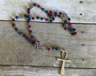 Jewel tone ankh rosary, faux pearl pagan rosary, wiccan jewelry, occult jewelry, egyptian inspired