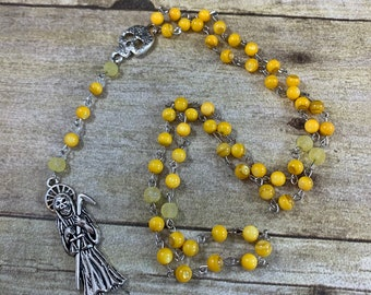 Yellow shell Santa Muerte rosary, santisima muerte, nuestra senora de la Santa Muerte, holy death rosary, most saintly death rosary