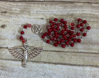 Red glass isis rosary, isis prayer beads, goddess prayer beads, wiccan prayer beads, occult prayer beads, pagan rosary, wiccan rosary