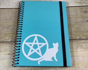 Blue and white glitter pentacle cat notebook, pentacle journal, witch journal, witch diary, pagan journal, wiccan journal, book of shadows