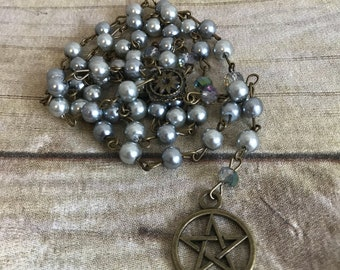 Two tone grey pagan rosary, pentacle rosary, pentacle jewelry, wiccan necklace, occult gift, handmade, one of a kind