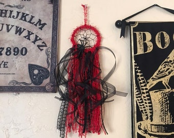 Red and black spider dreamcatcher, arachnid dreamcatcher, gothic dreamcatcher, occult dreamcatcher, alternative dreamcatcher