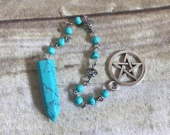 Pentacle and blue howlite pendulum, beaded pendulum, pagan pendulum, spirit communication tool, fortune telling tool, dowsing pendulum