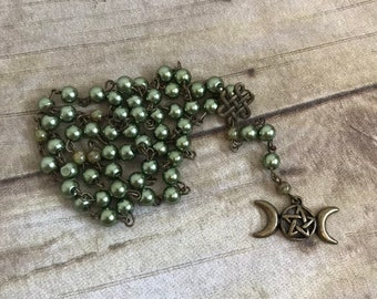 Green and brass triple moon pagan rosary, triple goddess rosary, pagan prayer beads, occult prayer beads, wiccan rosary