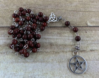 Burmese rose wood pagan rosary, pagan prayer beads, wiccan rosary, occult prayer beads, pentacle rosary, pentacle prayer beads