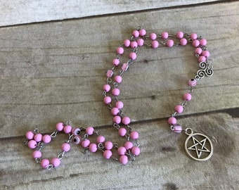 Pink evil eye pentacle rosary, nazar jewelry, pentacle necklace, pagan prayer beads, wiccan jewelry, pagan necklace, wiccan rosary
