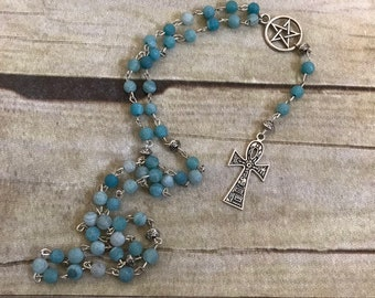 Blue frosted agate ankh rosary, pagan prayer beads, wiccan rosary, occult necklace, ankh jewelry, pagan rosary, wiccan prayer beads