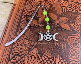 Neon green mountain jade triple moon bookmark, triple goddess bookmark, pagan bookmark, wiccan bookmark, witch bookmark, occult bookmark