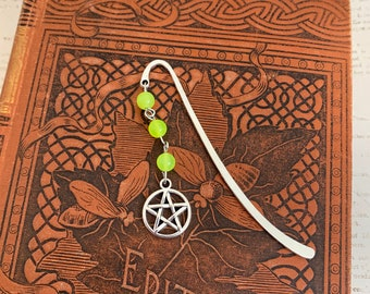 Neon green mountain jade pentacle bookmark, pagan bookmark, wiccan bookmark, occult bookmark, witch bookmark, witchcraft bookmark