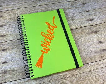 Green and orange wicked journal, witch journal, Halloween journal, pagan journal, wiccan journal, witchy journal, occult journal