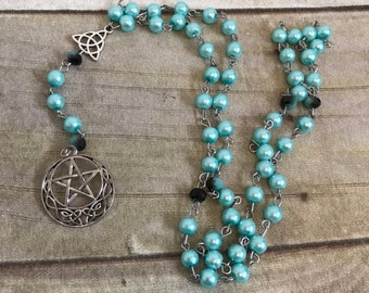 Light blue celtic pentacle rosary, celtic pagan prayer beads, wiccan prayer beads, pentacle jewelry, wiccan rosary, pagan rosary