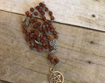 Gold stone pagan pentacle rosary, wiccan jewelry, pentacle gift, pagan necklace