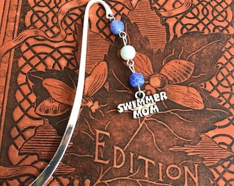 Blue frosted agate Swimmer mom bookmark, team mom gift, stocking stuffer, metal bookmark