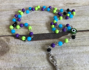 Cool toned nazar goddess rosary, spiral goddess, evil eye, pagan rosary, wiccan jewelry, occult gift, handmade, one of a kind