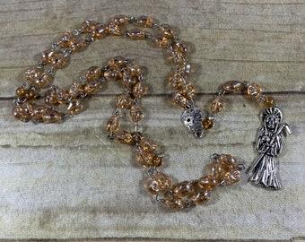 Golden yellow skull Santa muerte rosary, nuestra senora de la Santa Muerte, holy death rosary, sacred death rosary, santisima muerte rosary