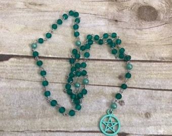 Dark teal colorful pentacle rosary, pagan prayer beads, pentacle jewelry, wiccan rosary