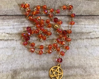 Orange red and gold pagan rosary, pentacle pagan prayer beads, wiccan prayer beads, occult jewelry