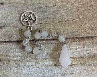 White quartz pendulum, milky quartz pendulum, pentacle pendulum, occult pendulum, pagan pendulum, wiccan pendulum