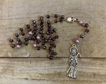 Dark purple santa muerte rosary, santisima muerte rosary, nuestra senora de la santa muerte, holy death rosary, sacred death rosary