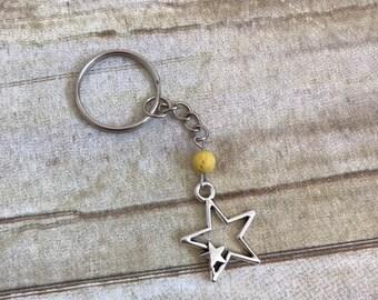 Yellow double star keychain, lava rock keychain, celestial keychain, stone keychain, occult keychain, star gift
