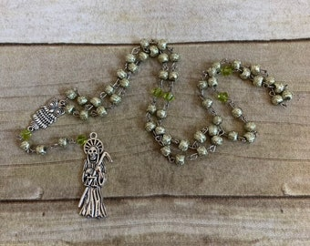 Spring green santa muerte rosary, santisima muerte rosary, nuestra senora de la santa muerte, holt death rosary, sacred death rosary