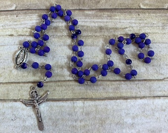 Bright deep purple lava rock rosary, catholic rosary, essential oil rosary, oil diffuser rosary, statement rosary, stone rosary, unique