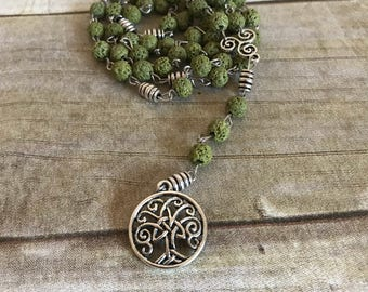 Celtic inspired tree of life rosary, lava bead jewelry, sefuser jewelry, pagan rosary, wiccan necklace