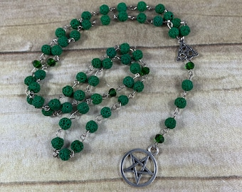 Green lava rock pentacle pagan rosary, essential oil diffuser pagan prayer beads, witch rosary, witch prayer beads, wiccan rosary, wiccan
