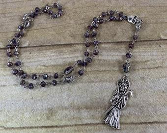 Purple and silver skull Santa muerte rosary, santisima muerte, nuestra senora de la Santa Muerte, holy death rosary, sacred death rosary