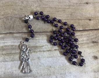 Deep purple Santa Muerte rosary, santisima muerte rosary, Nuestra Señora de la santa muerte rosary, holy death rosary, sacred death rosary