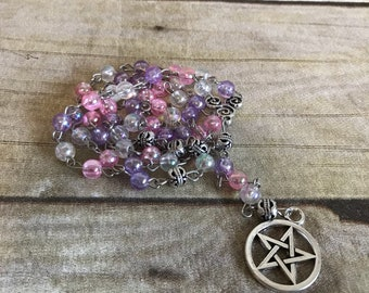 Pink and purple pagan rosary, pentacle jewelry, occult jewelry, wiccan necklace, pagan prayer beads, pentacle necklace