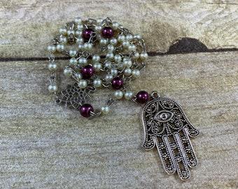 Small ivory and purple hamsa pagan rosary, hamsa prayer beads, occult rosary, occult prayer beads, witch rosary, witch prayer beads