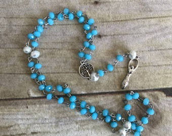 Light blue goddess rosary, pagan necklace, wiccan jewelry, spiral goddess, celtic inspired