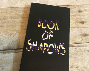 Book of shadows - black, purple, yellow and white journal, pagan notebook, wiccan diary, blank book of shadows